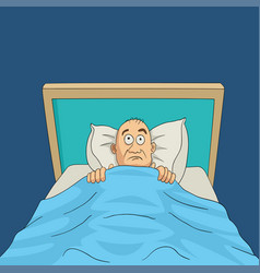 Man on bed with eyes wide open cartoon vector