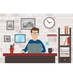 Man With Laptop In Modern Room vector