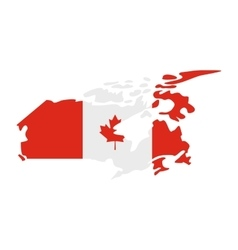 Map of Canada with the image of the national flag vector image