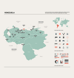 Map venezuela high detailed country vector