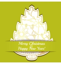 Merry Christmas card on paper with tree vector image