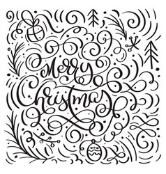 merry christmas on a white background with vector image
