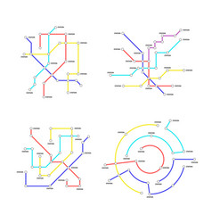metro map signs color thin line icon set vector image