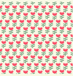 Mid century seamless floral pattern design vector