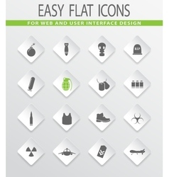 Military Silhouette icons set vector image