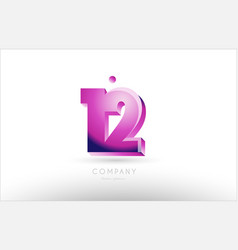 Number 12 twelve black white pink logo icon design vector