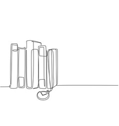 one single line drawing stack retro old vector image