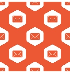 Orange hexagon letter pattern vector image