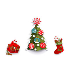 Paper cut christmas tree stocking and present box vector