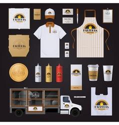 Pizza corporate identity template design set vector