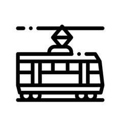 public transport tramway thin line icon vector image