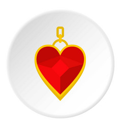 red heart shape gemstone pendant icon circle vector image