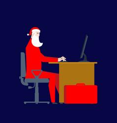 santa claus at work at computer christmas work vector image