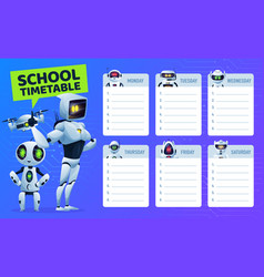 School timetable schedule with robots and drone vector