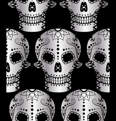 seamless pattern of metal sugar skull vector image