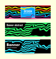 set horizontal bright summer banners with blue vector image