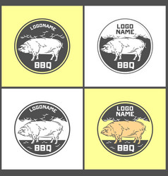 set of pig farm fresh pork meat emblems design vector image