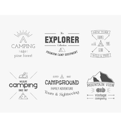Set of vintage explorer mountain forest logo vector