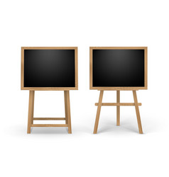set of wooden easels with black boards vector image