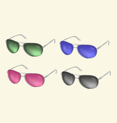 set realistic sunglasses eye glasses colle vector image