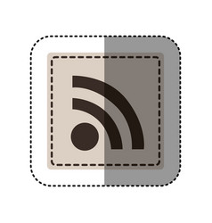 sticker monochrome square with wifi icon vector image