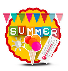 Summer label with colorful flags ice cream vector