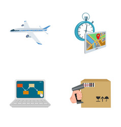 transport aircraft delivery on time computer vector image