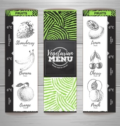 Vintage chalk drawing vegetarian food menu design vector image