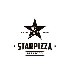 vintage retro seal emblem logo pizza and star vector image