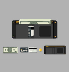 wallet black with money vector image