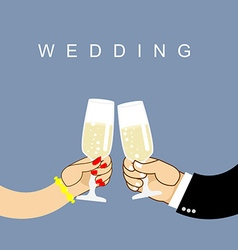 Wedding Newlyweds clink glasses bride and groom vector image