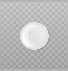 white ceramic saucer from top view isolated on vector image
