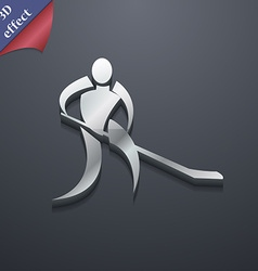 Winter sport hockey icon symbol 3d style trendy vector