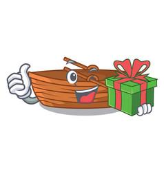 With gift wooden boat sail at sea character vector