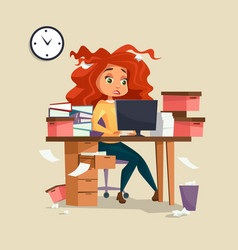 Woman in office stress of vector