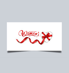 Women day design with big gift box red ribbon vector