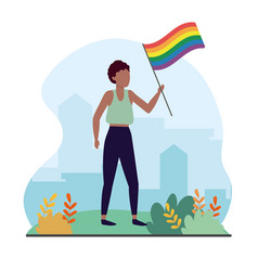 Women with rainbow flag to lgbt celebration vector