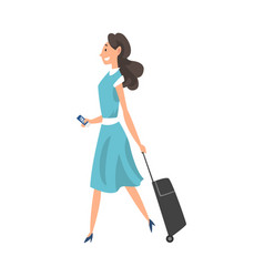 young brunette woman walking with suitcase on vector image