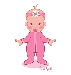 young child in a pink vector image