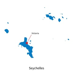 Detailed map of Seychelles and capital city vector image vector image