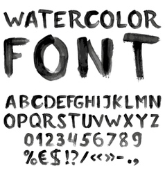 Handwritten black watercolor alphabet vector image
