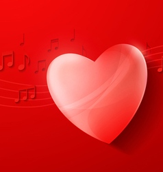 Heart on Red Background Love Music Concept Design vector image