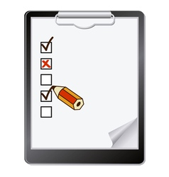 of a clipboard with pencil marking on vector image vector image