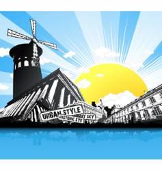 paris historic building retro background vector image vector image