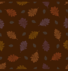 seamless pattern from autumn vintage leaves vector image vector image