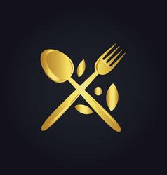 spoon fork food menu organic gold logo vector image