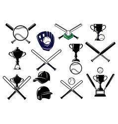 Baseball equipments set vector image
