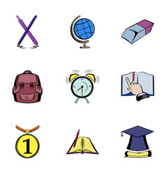 knowledge icons set cartoon style vector image vector image