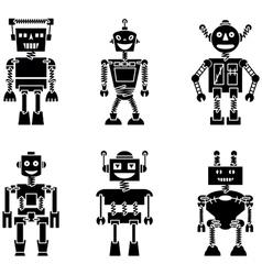 Retro robots black silhouette set vector image vector image