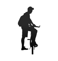 Silhouette of man with bicycle rear view vector image